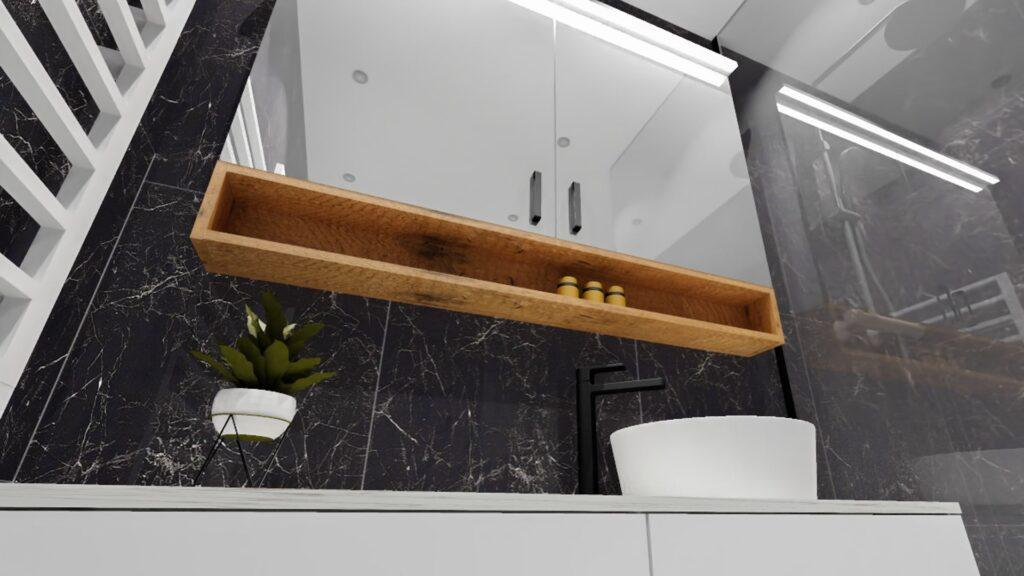 Projekt lustrzanej szafki w łazience z drewnianą półką