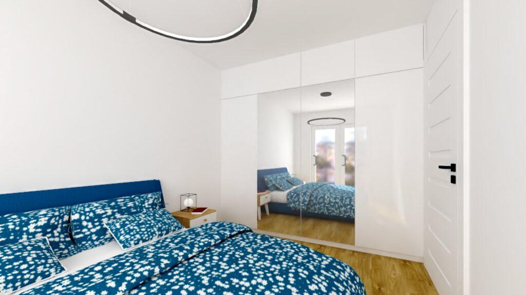 wizualizacja białej szafy z drzwiami lustrzanymi