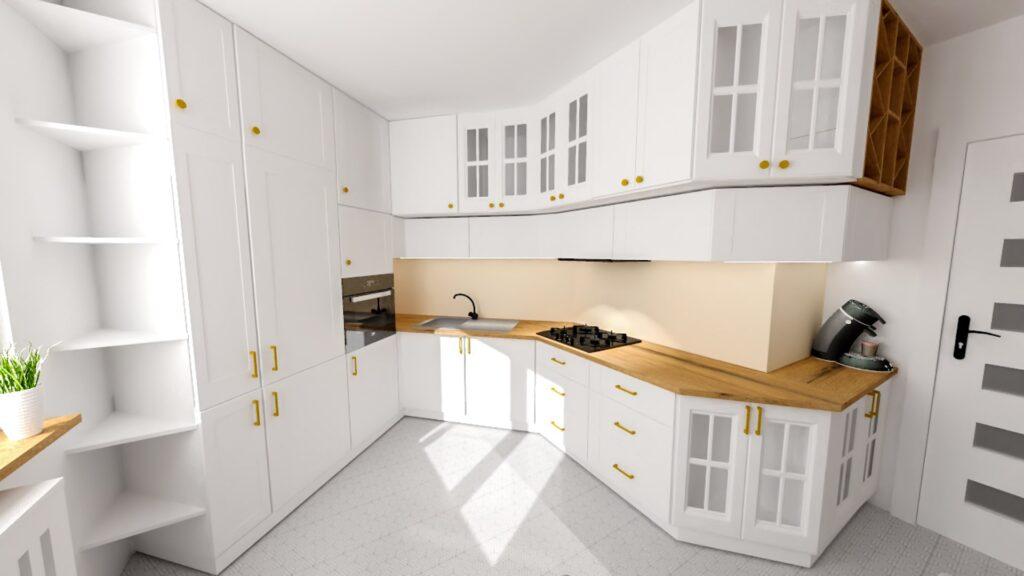 Wizualizacja białej kuchni wraz z szafkami ze szprosami
