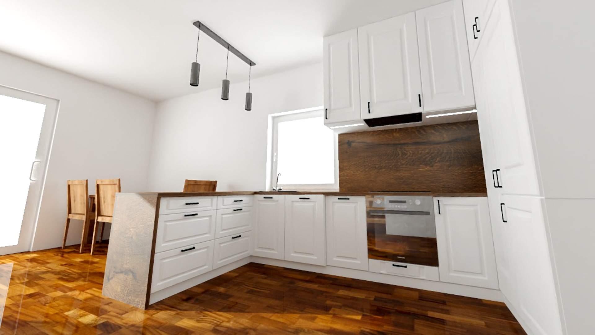 Projekt 3D białej kuchni ze wstawkami drewnianymi w domu jednorodzinnym