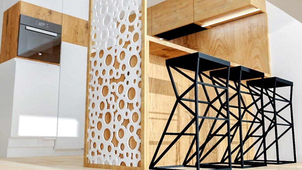 Projekt kuchni z wysuniętym blatem i hokerami oraz panelem ozdobnym 3D