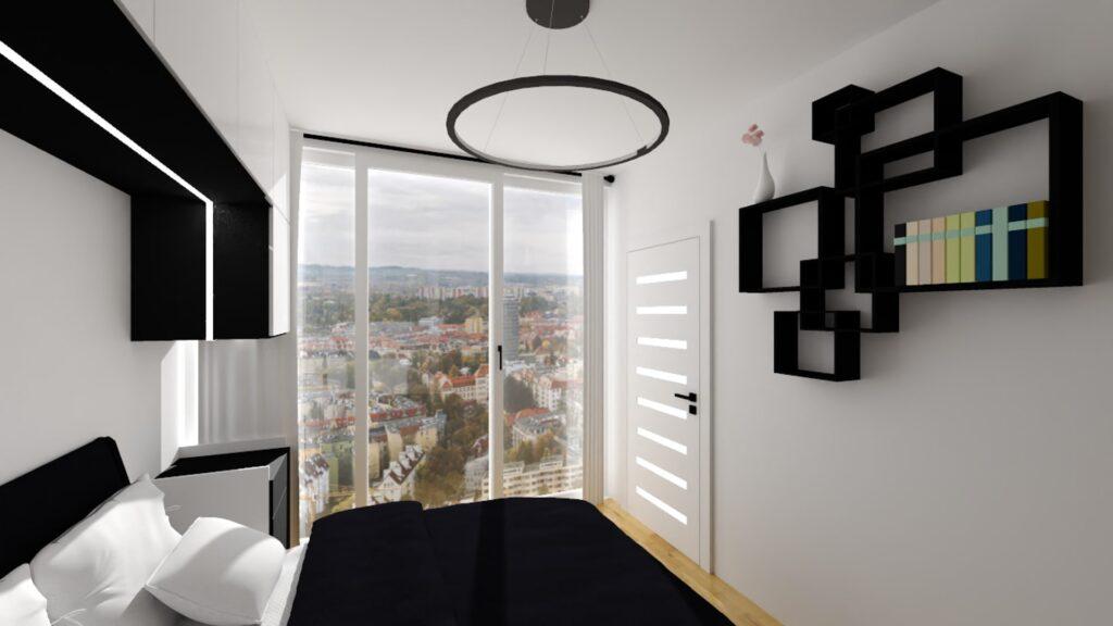 wizualizacja sypialni z półkami na ścianie i widokiem na miasto
